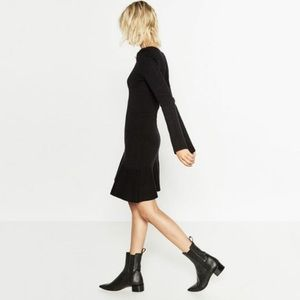 Zara Black Stretch Leather Ankle Boot